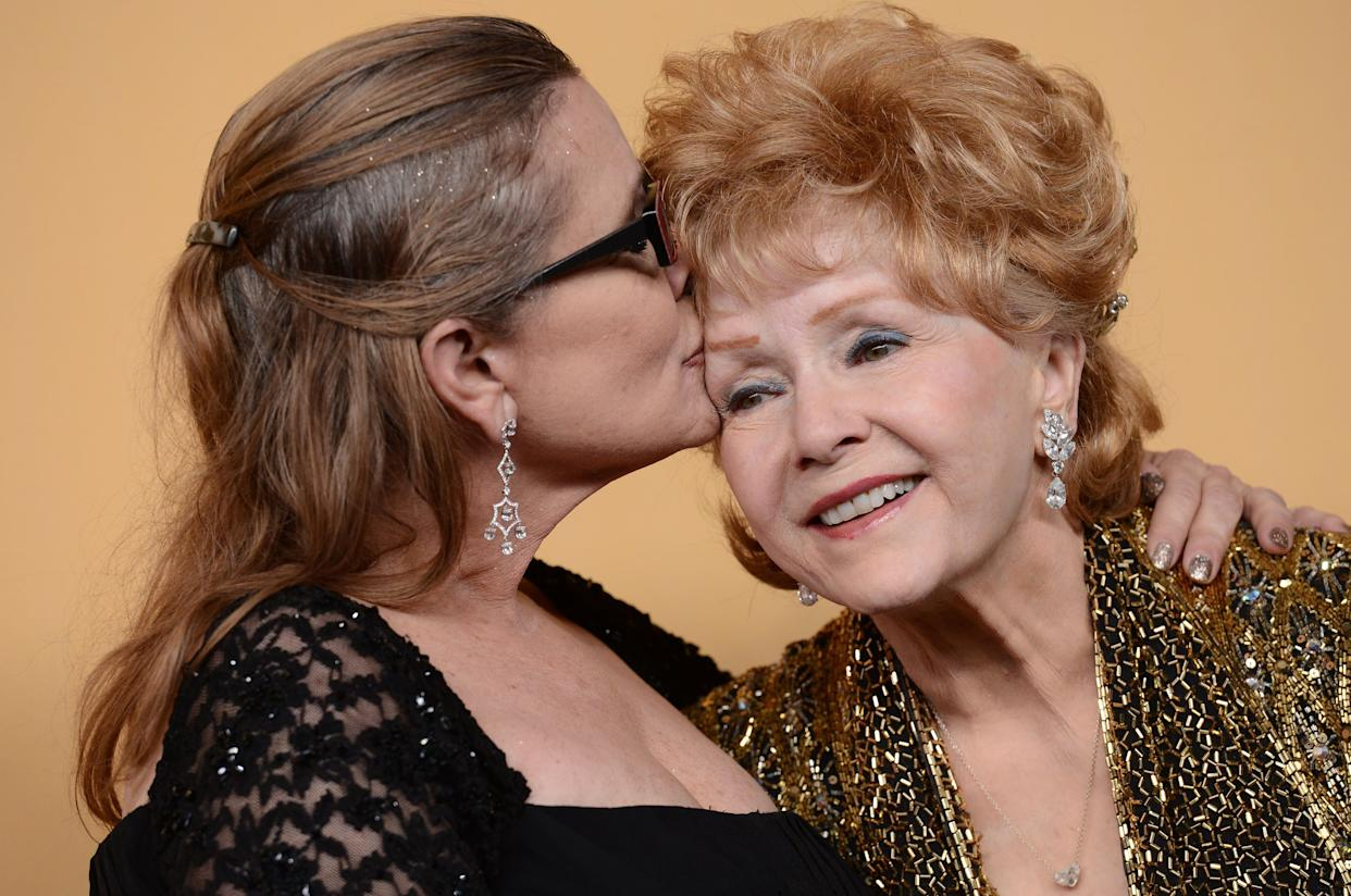Debbie Reynolds and Carrie Fisher at the 2015 Screen Actors Guild Awards at the Shrine Auditorium in Los Angeles.