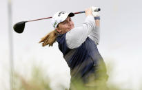 Gemma Dryburgh, of Scotland, watches her tee shot on the fifth hole during the final round of the LPGA Cambia Portland Classic golf tournament in West Linn, Ore., Sunday, Sept. 19, 2021. (AP Photo/Steve Dipaola)