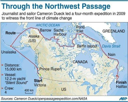 Map showing the route of journalist and sailor Cameron Dueck's sailing trip through the Canadian arctic