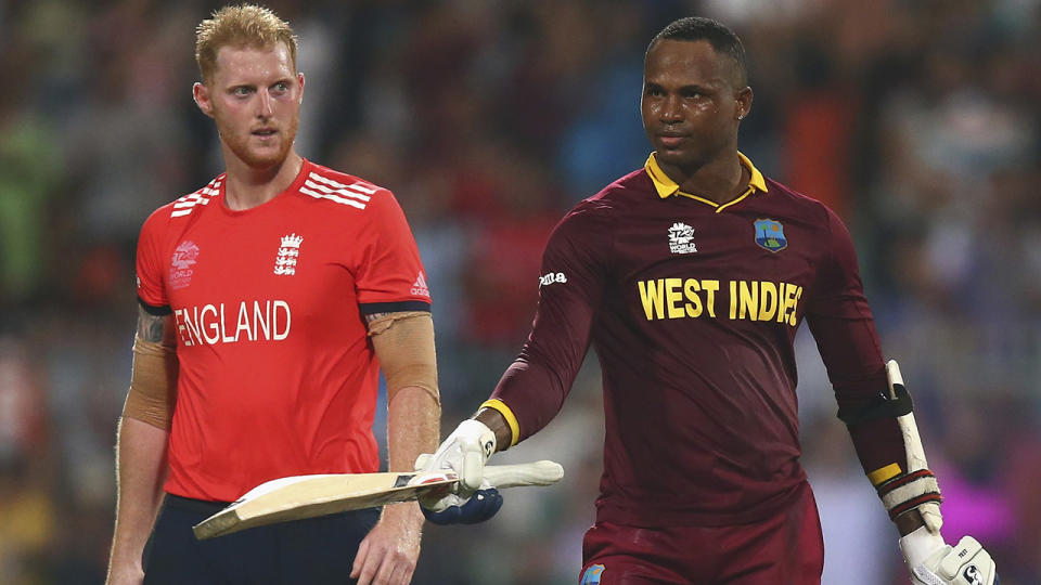 Ben Stokes and Marlon Samuels, pictured here during the World Twenty20 final in 2016.
