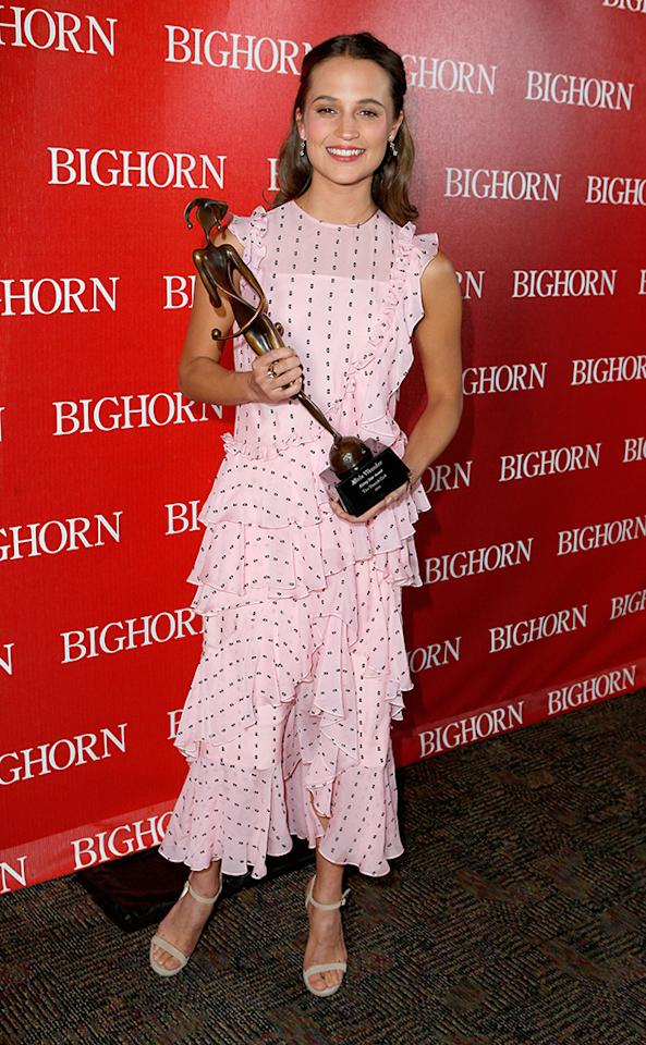 <p>During awards season, it's important to collect smaller honors as a prelude to the Big One. Vikander's Rising Star Award, which she received on Jan. 2 in Palm Springs, California, is a pretty prestigious one to add to the lot.</p><p><i>(Photo: Jeff Vespa/Getty Images)</i></p>
