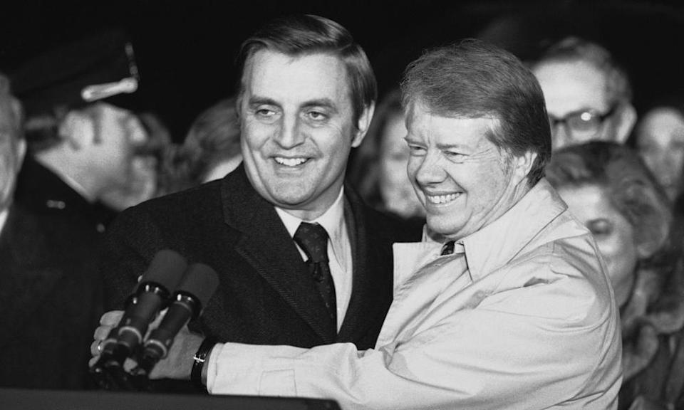 President Jimmy Carter, right, with Walter Mondale in 1978. He served as US vice-president from 1977 to 1981. Mondale significantly helped to redefine the difficult post of vice-president.