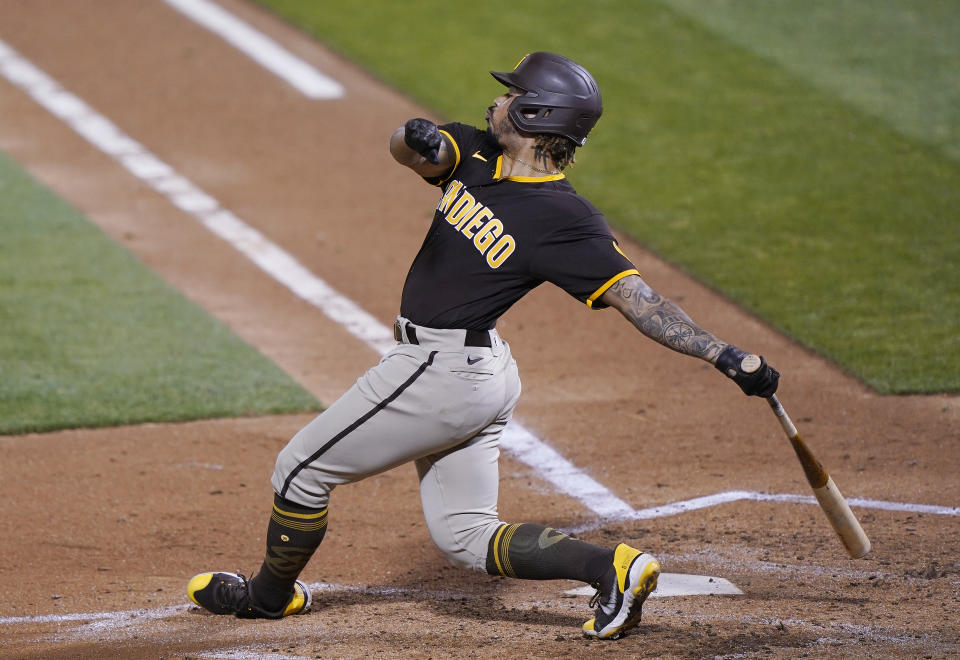 OAKLAND, CALIFORNIA - SEPTEMBER 04: Luis Campusano #21 of the San Diego Padres bats against the Oakland Athletics in the top of the fifth inning at RingCentral Coliseum on September 04, 2020 in Oakland, California. The Padres won the game 7-0. (Photo by Thearon W. Henderson/Getty Images)