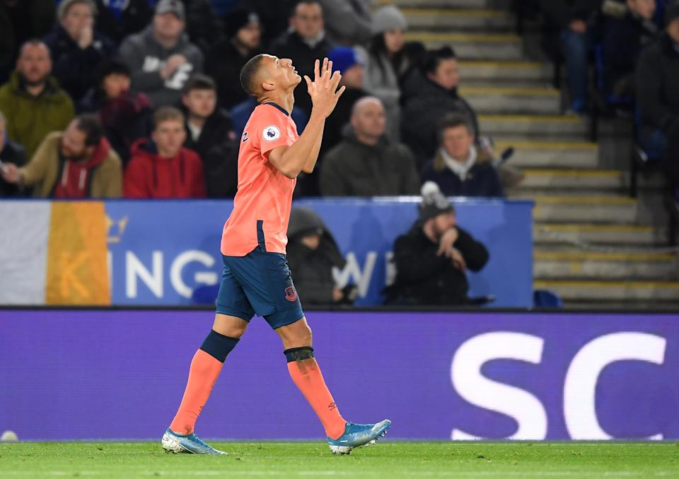 Richarlison of Everton celebrates after he scores his sides first goal. (Credit: Getty Images)