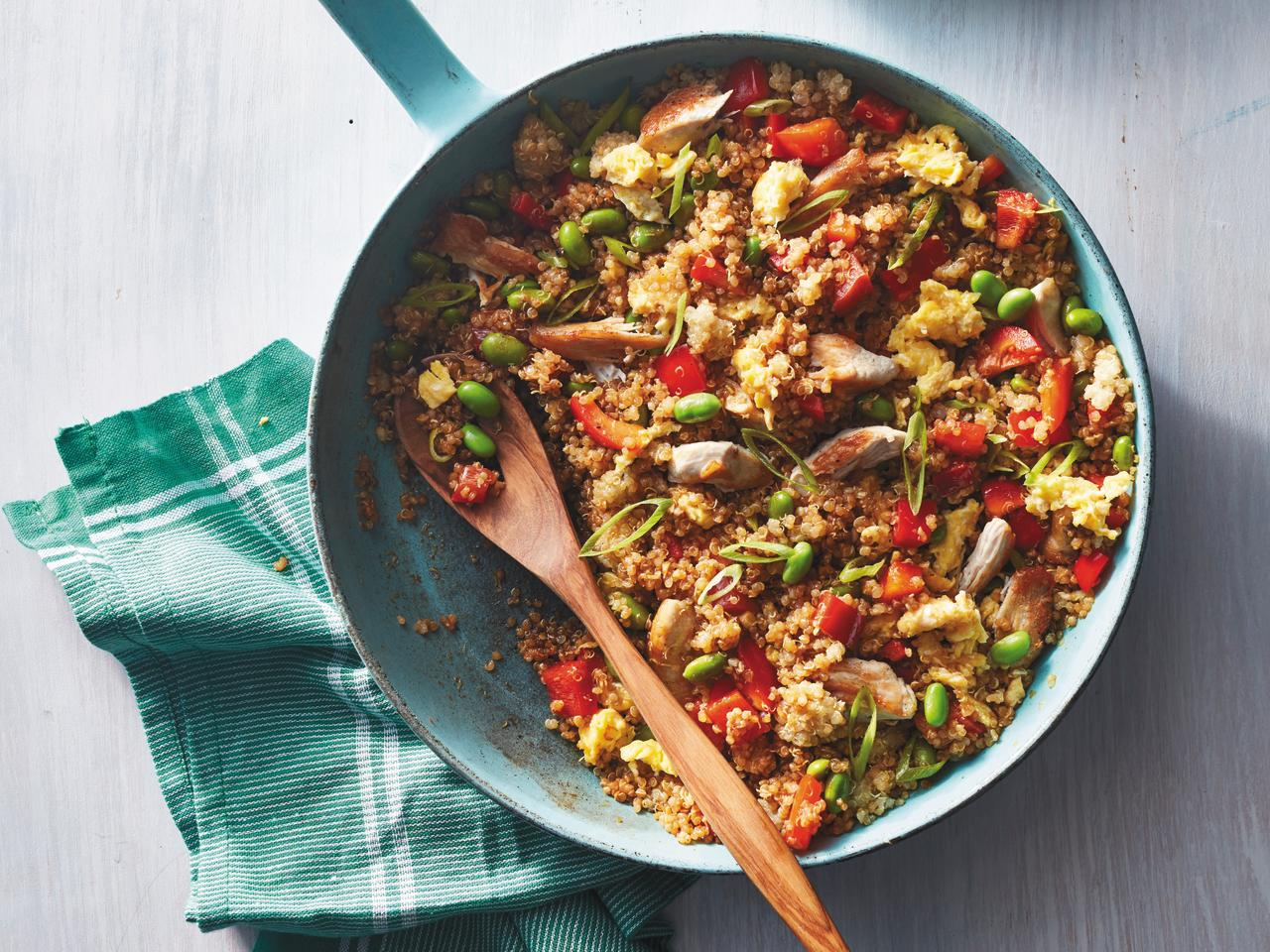 """<p>When making a stir-fry, the actual cooking takes practically zero time, so make sure you have everything prepped before you start. Use two packages of precooked quinoa to get the amount needed for this recipe.</p> <p> <a href=""""https://www.cookinglight.com/recipes/chicken-fried-quinoa"""">View Recipe: Chicken Fried Quinoa</a></p>"""