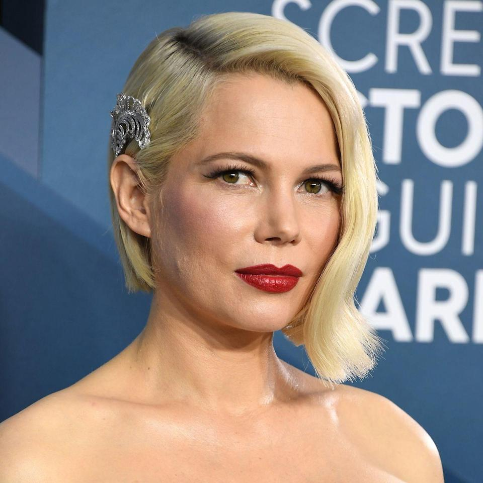 <p>Michelle Williams is no stranger to experimenting with a fresh cut. This short angled bob is the perfect style for showing off your gorgeous jawline. Go full glam by embellishing one side with a hair accessory. </p>