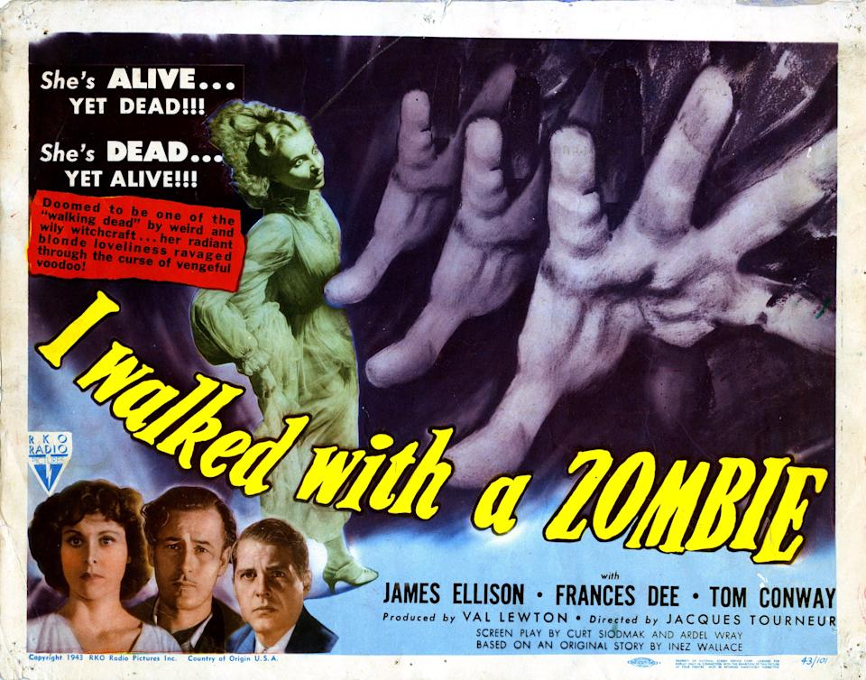 I Walked With A Zombie, poster, from left, Frances Dee, Tom Conway, James Ellison, 1943. (Photo by LMPC via Getty Images)