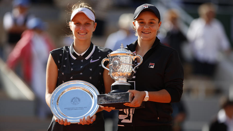 Marketa Vondrousova and Ashleigh Barty, pictured here after the 2019 French Open final.