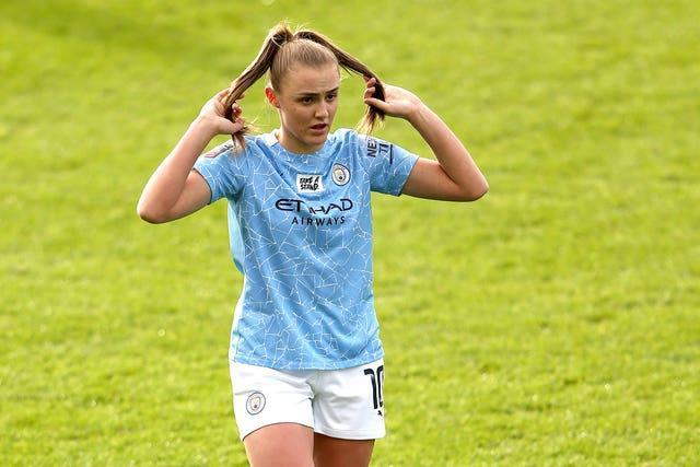Manchester City's Georgia Stanway plays with her hair during the Women's Super League game win over West Ham