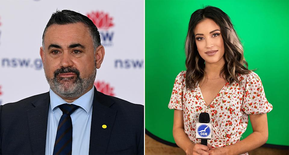 Side by side picture of deputy premier John Barilaro during a NSW press conference and news reporter Skaie Hull in front of a green screen.