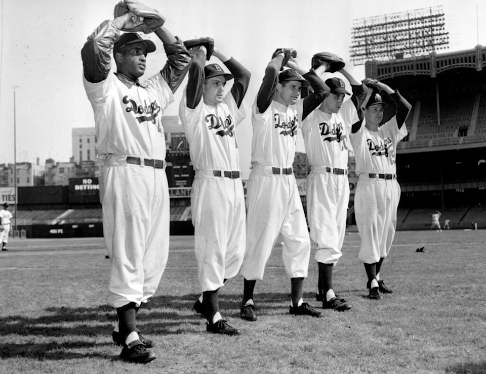 The Brooklyn Dodgers pitchers for the 1952 World Series.