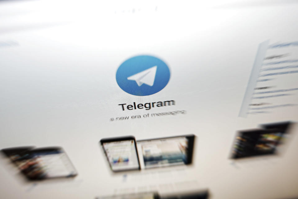 FILE - In this Thursday, June 13, 2019, file photo, the website of the Telegram messaging app is seen on a computer's screen in Beijing. In early January 2021, encrypted messaging apps Signal and Telegram are seeing huge upticks in downloads from Apple and Google's app stores, while WhatsApp's growth is on the decline following a privacy fiasco where the company was forced to clarify a message it sent to users. (AP Photo/Andy Wong, File)