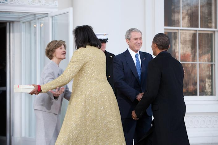 George and Laura Bush greeted the Obamas for a coffee reception at the White House before the inauguration ceremony.Brendan Hoffman/Getty Images