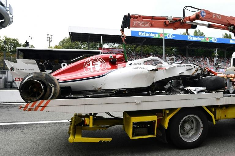 Marcus Ericsson's damaged Sauber did not make it back to the pits under its own power