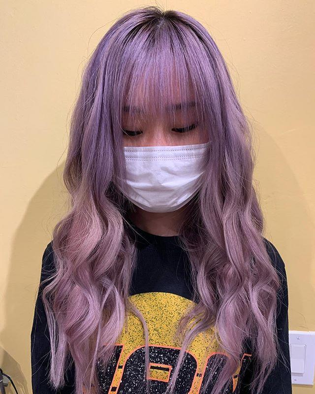 "<p>Why not tackle two trends at once? After your stylist colors your hair lavender, ask for a set of <strong>eye-skimming <a href=""https://www.cosmopolitan.com/style-beauty/beauty/g25906496/long-hair-bangs-styles/"" rel=""nofollow noopener"" target=""_blank"" data-ylk=""slk:bangs"" class=""link rapid-noclick-resp"">bangs</a> to complete the look.</strong></p><p><a href=""https://www.instagram.com/p/CBRl_M2J-j5/"" rel=""nofollow noopener"" target=""_blank"" data-ylk=""slk:See the original post on Instagram"" class=""link rapid-noclick-resp"">See the original post on Instagram</a></p>"