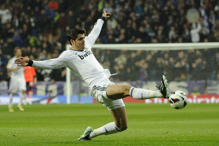Real Madrid's Alvaro Morata controls the ball at the Santiago Bernabeu stadium in Madrid on February 17, 2012