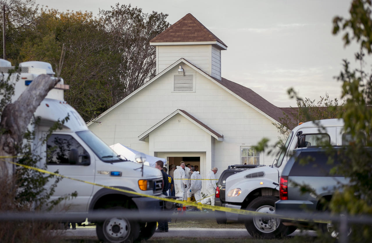 <p>Kelley, 26, was a resident of Comal County, Texas, with a history of domestic violence but no other immediate sign of a possible motive. (AP Photo/Austin American-Statesman, Jay Janner) </p>