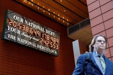 FILE PHOTO: The National Debt Clock is seen in the Manhattan borough of New York City