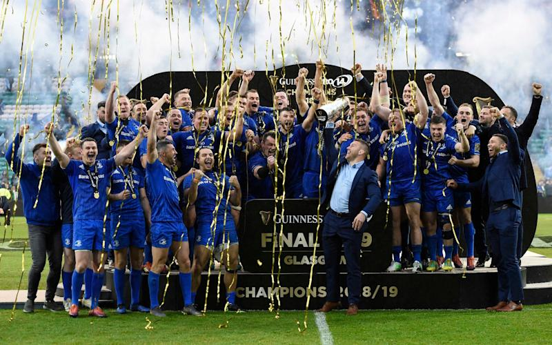 Leinster's Sean O'Brien lifts the Guinness Pro14 trophy at the end of the 2018-19 season - PA