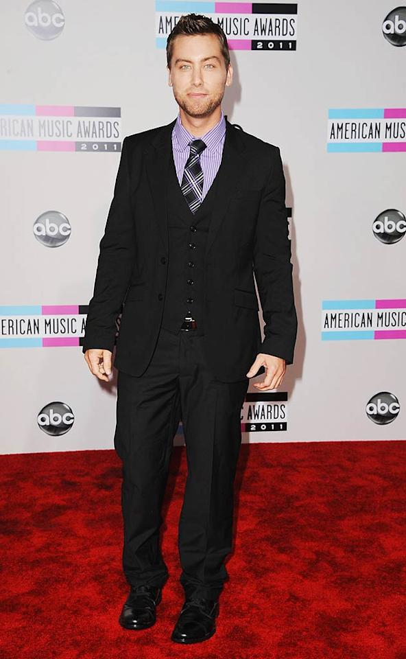 Lance Bass arrives at the 2011 American Music Awards held at the Nokia Theatre L.A. LIVE. (11/20/2011)