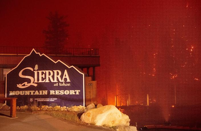 Flames surround the Sierra-at-Tahoe