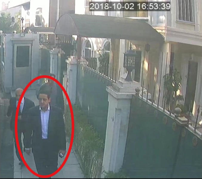 "ADDS NAME OF SUSPECT - In a frame from surveillance camera footage taken Oct. 2, 2018, and published Thursday, Oct. 18, 2018, by the pro-government Turkish newspaper Sabah, a man identified by Turkish officials as Maher Abdulaziz Mutreb, walks outside the Saudi consul general's residence in Istanbul. Writer Jamal Khashoggi disappeared at the nearby Saudi consulate on the same day. Saudi Arabia, which initially called the allegations ""baseless,"" has not responded to repeated requests for comment from The Associated Press over recent days, including on Thursday over Mutreb's identification. (Sabah via AP)"