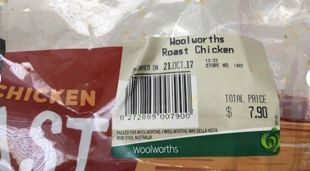 Ms Ga Silva claims to have purchased the chicken from Woolworths. Source: Supplied