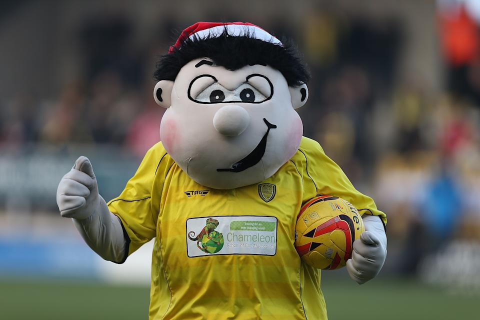 Burton Albion's Billy the Brewer is an odd looking mascot. He certainly looks like he has spent plenty of time at the local breweries.
