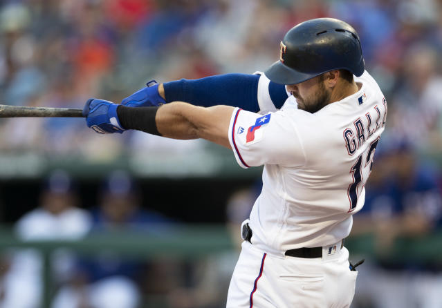 "Texas Rangers' <a class=""link rapid-noclick-resp"" href=""/mlb/players/9630/"" data-ylk=""slk:Joey Gallo"">Joey Gallo</a> offers power, but his batting average is a major hinderance in fantasy leagues. (AP Photo/Jim Cowsert)"