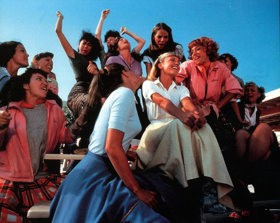 Olivia Newton-John, Didi Conn and the rest of the girls sing in a scene from the film 'Grease', 1978. (Photo by Paramount/Getty Images)