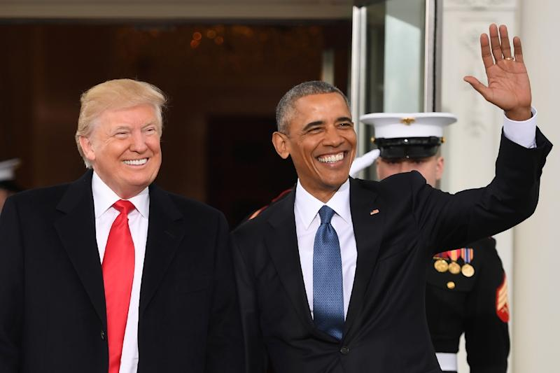 Barack Obama (right) pictured with Donald Trump at the White House in Washington, DC on January 20, 2017