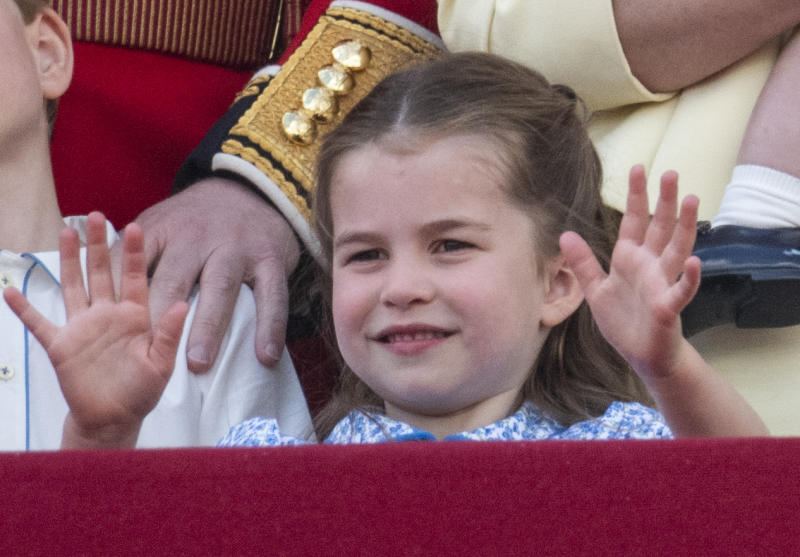 LONDON, ENGLAND - JUNE 08: Princess Charlotte of Cambridge during Trooping The Colour, the Queen's annual birthday parade, on June 8, 2019 in London, England. (Photo by Mark Cuthbert/UK Press via Getty Images)