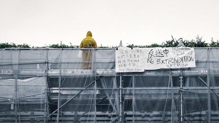 The image of this man protesting against the extradition bill became a haunting symbol