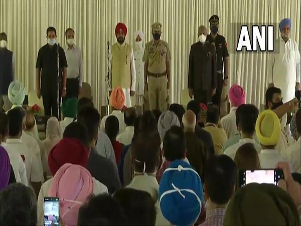 A visual from the oath-taking ceremony at Raj Bhavan in Chandigarh on Sunday. (Photo/ANI)