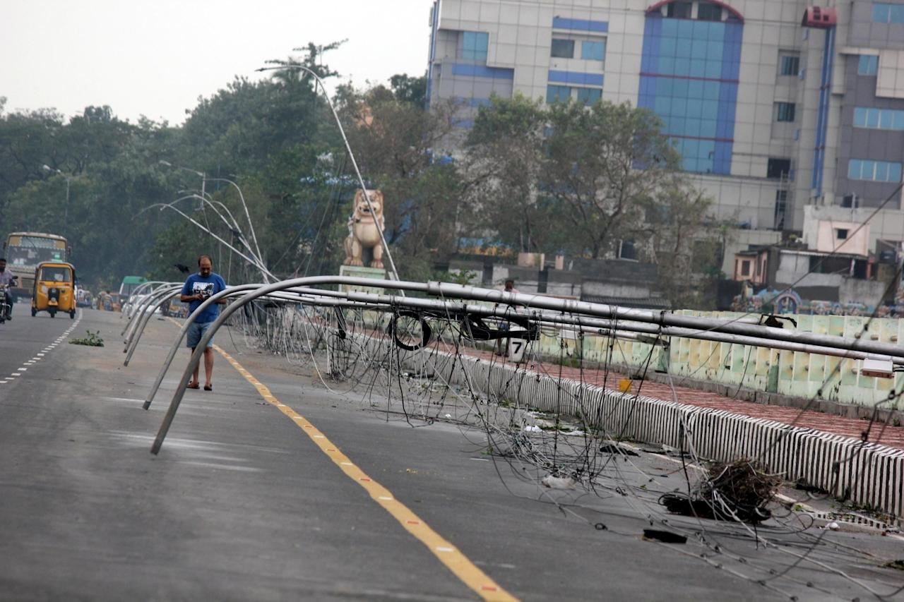 <p>Destruction caused by cyclone Vardah in Chennai on Dec 13, 2016. (Photo: IANS) </p>