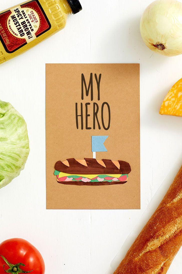 """<p>This pun isn't substandard by any means. Cut out each sandwich ingredient and glue them together to nail a 3D effect.</p><p><em><a href=""""http://www.berries.com/blog/diy-funny-fathers-day-cards-for-dad"""" rel=""""nofollow noopener"""" target=""""_blank"""" data-ylk=""""slk:Get the tutorial from Shari's Berries »"""" class=""""link rapid-noclick-resp"""">Get the tutorial from Shari's Berries »</a></em> </p>"""
