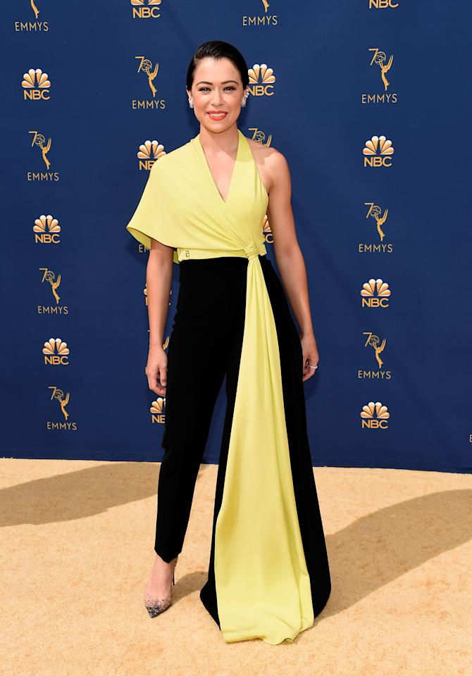 <p>The<em> Orphan Black </em>actress rocked a two-tone jumpsuit by Christian Siriano. (Photo: Getty Images) </p>