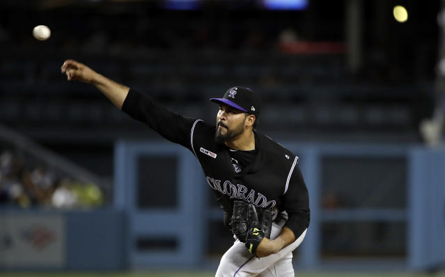 Colorado Rockies starting pitcher Antonio Senzatela throws to a Los Angeles Dodgers batter during the third inning of a baseball game Wednesday, Sept. 4, 2019, in Los Angeles. (AP Photo/Marcio Jose Sanchez)