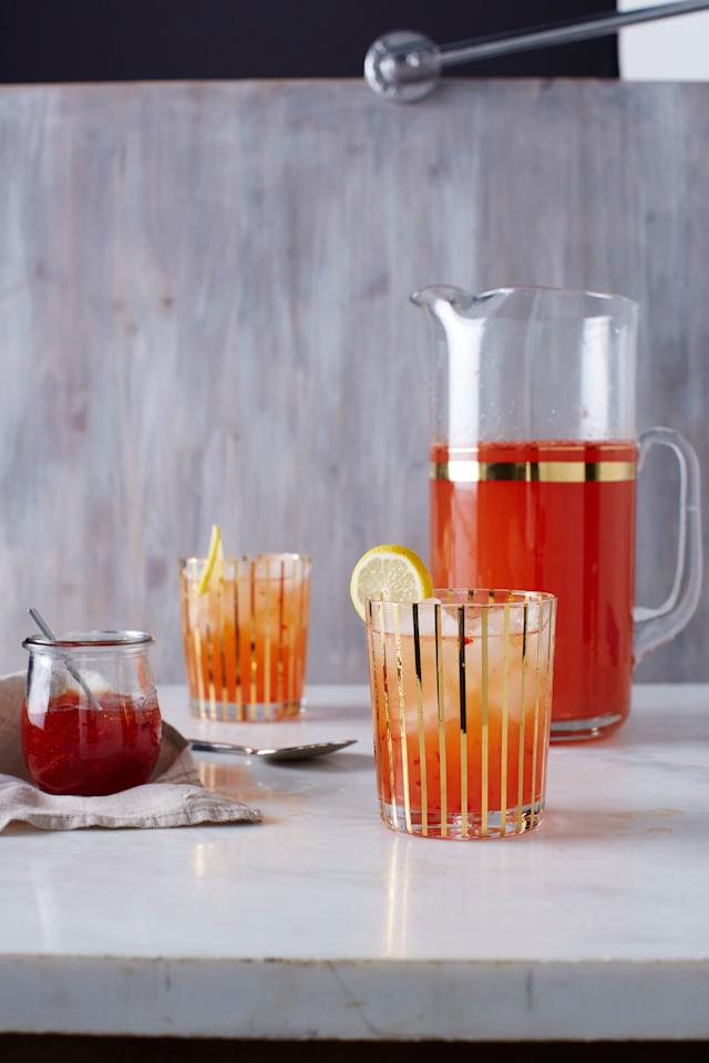 "<p>What better way to use gifted peper jelly than to spice up your cocktails? This beverage is sweet and sour with a sublte hotness. Serve a drink that is fun, different, and just plain smart at your next fall or holiday get-together.</p> <p><a href=""https://www.myrecipes.com/recipe/red-pepper-bourbon-glow"">Red Pepper Bourbon Glow Recipe</a></p>"