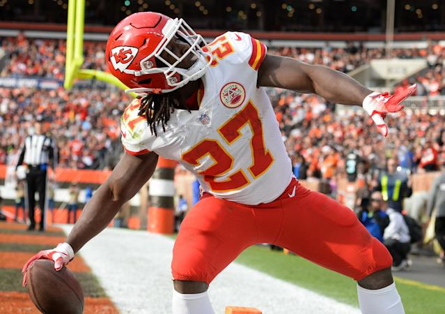 A video surfaced Friday of Kareem Hunt shoving and kicking a woman. The Chiefs responded by cutting their running back who won the rushing title last season. (Getty Images)