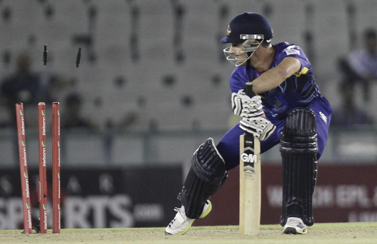 A Otago player bowled out during the Champions League Twenty20 between Sunrisers Hyderabad and Otago at Mohali stadium, Chandigarh on Sept. 20, 2013. (Photo: IANS)