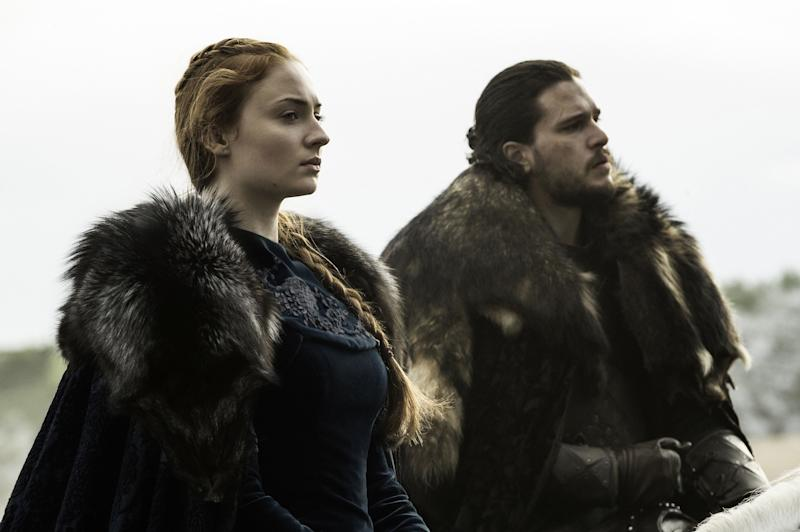 Sophie Turner as Sansa Stark and Kit Harington as Jon Snow in Game of Thrones (Credit: HBO)