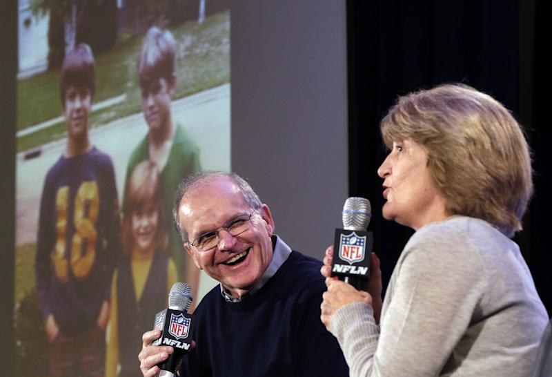 Football remains big in the lives of Jack and Jackie Harbaugh, the parents of coaches John and Jim. (AP)