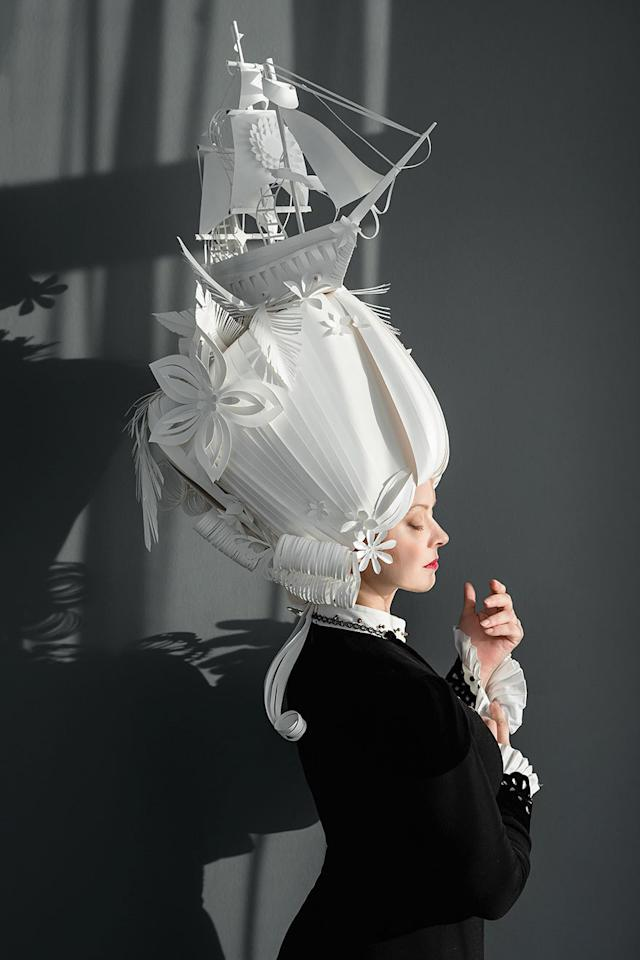 """<p>Here's another of Kozina's wigs — and, yes, that's a paper ship perched up there!<i>(Photo: <a href=""""https://www.facebook.com/kozina.asya/"""">Asya Kozina/Facebook</a>)</i></p>"""