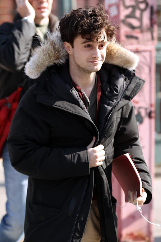 "Daniel Radcliffe walks to the set of his latest movie ""Kill Your Darlings"" filming on Smith Street on March 19, 2012 in New York City, New York. (Photo by Christopher Peterson/BuzzFoto/FilmMagic)"