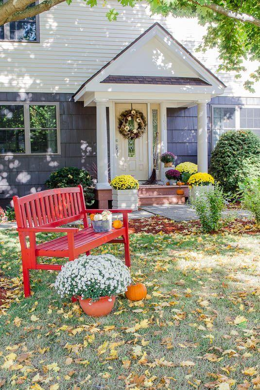 """<p>Summer's not the only season in which bright colors play a starring role. Add curb appeal and comfort to your yard simultaneously with a bright red bench. </p><p><strong>Get the tutorial at <a href=""""http://www.fourgenerationsoneroof.com/2014/10/portico-reveal-curb-appeal"""" rel=""""nofollow noopener"""" target=""""_blank"""" data-ylk=""""slk:Four Generations Under One Roof"""" class=""""link rapid-noclick-resp"""">Four Generations Under One Roof</a>.</strong></p><p><strong><a class=""""link rapid-noclick-resp"""" href=""""https://go.redirectingat.com?id=74968X1596630&url=https%3A%2F%2Fwww.walmart.com%2Fsearch%2F%3Fquery%3Doutdoor%2Bseating&sref=https%3A%2F%2Fwww.thepioneerwoman.com%2Fhome-lifestyle%2Fdecorating-ideas%2Fg36732301%2Foutdoor-fall-decorations%2F"""" rel=""""nofollow noopener"""" target=""""_blank"""" data-ylk=""""slk:SHOP OUTDOOR SEATING"""">SHOP OUTDOOR SEATING</a><br></strong></p>"""