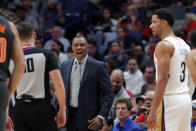 New Orleans Pelicans head coach Alvin Gentry reacts to a technical foul call against guard Josh Hart (3) in the second half of an NBA basketball game against the Orlando Magic in New Orleans, Sunday, Dec. 15, 2019. Gentry was ejected from the game moments later. The Magic won 130-119. (AP Photo/Gerald Herbert)