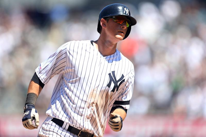 BRONX, NY - JUNE 26: DJ LeMahieu #26 of the New York Yankees hits a home run against the Toronto Blue Jays at Yankee Stadium on Wednesday, June 26, 2019 in the Bronx borough of New York City. (Photo by Rob Tringali/MLB via Getty Images)
