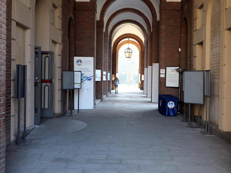 A view of the empty entrance to the Università Cattolica (Catholic University) in Milan, northern Italy, on 24 February, 2020: EPA/MATTEO BAZZI