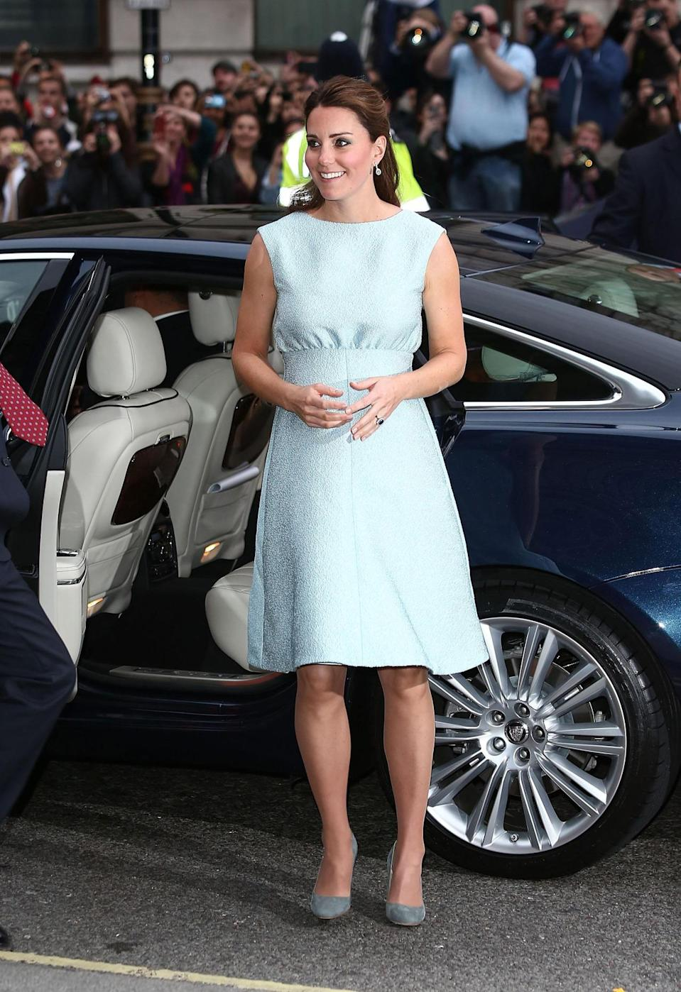 <p>Kate attended an art event dressed in a gorgeous custom blue dress by Emilia Wickstead. Accessories included grey Rupert Sanderson pumps. </p><p><i>[Photo: PA]</i></p>